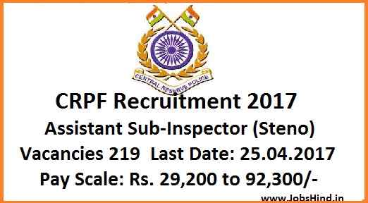CRPF Recruitment 2017