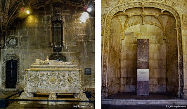 Túmulos de Camões e de Fernando Pessoa no Mosteiro dos Jerónimos