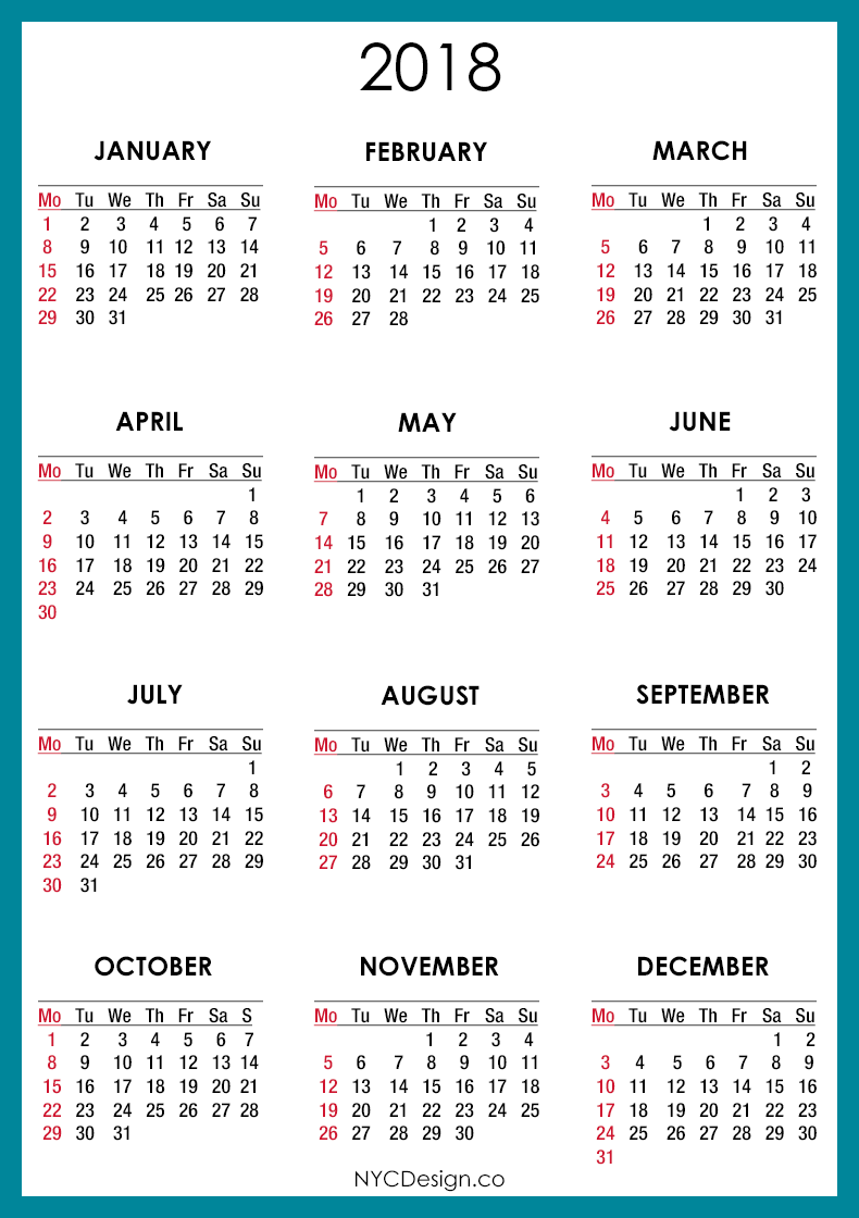 2019 calendar yearly printable