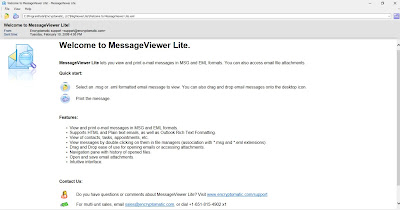 Screen image of MessageViewer Lite software for Windows. View .eml .msg email files. Simple email viewer.