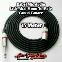 Kabel Mic Audio 15 Meter Jack Akai Mono To Male Canon Canare
