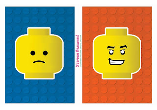 Banderines con Caras para Fiesta de Lego para Imprimir Gratis.
