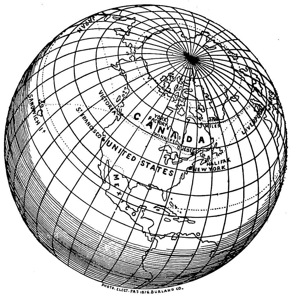 illustration of an 1881 globe showing Canada and the North Pole, Sandwich Islands