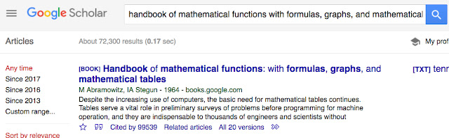 A screenshot from Google Scholar, showing that the Handbook of Mathematical Functions, by Abromowitz and Stugus, has been cited 95539 times