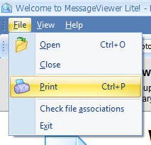 Screen shot of MessageViewer Lite's File menu options.