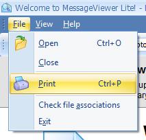 Screen shot of MessageViewer Lite's File menu options.
