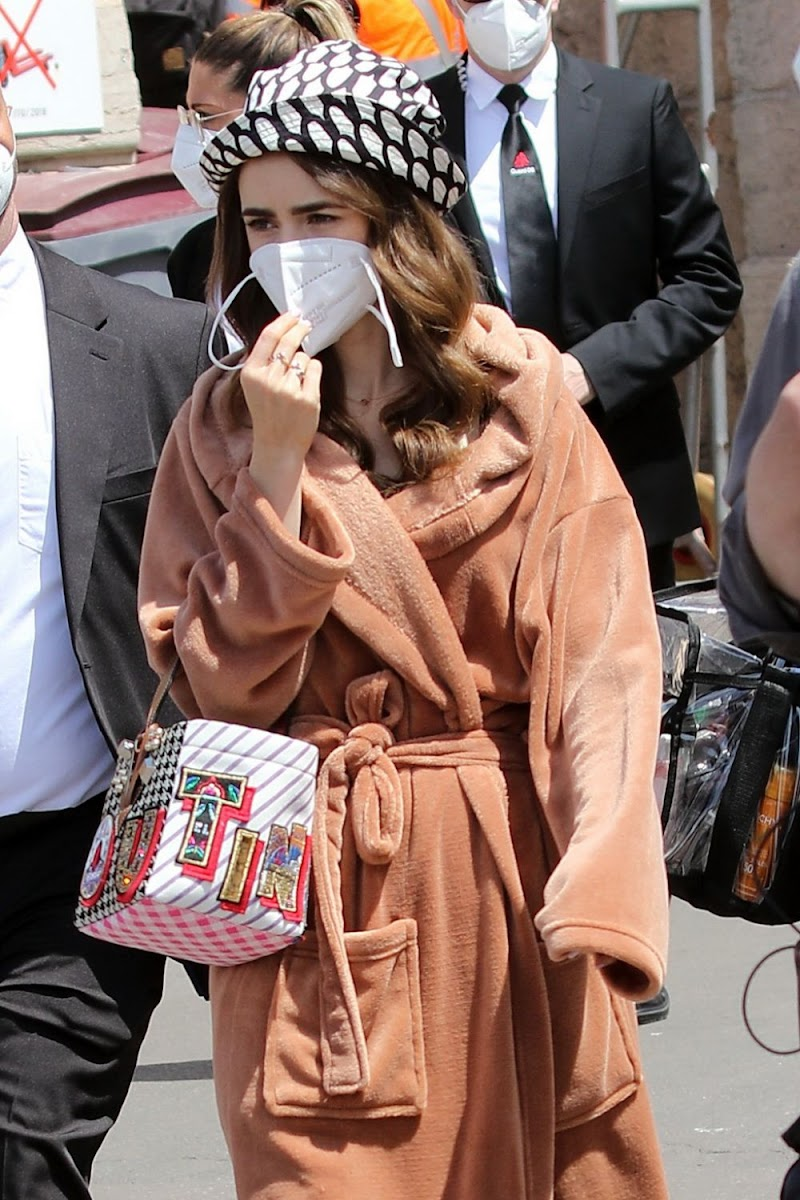Lily Collins Clicked on the Set of Emily in Paris in Saint-tropez 9 May-2021