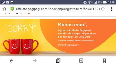 Banner penutupan affiliate Pegipegi per 20 Juli 2018