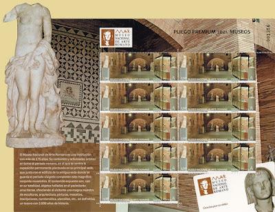 Pliego premium, museo, arte romano, Mérida, sellos, filatelia