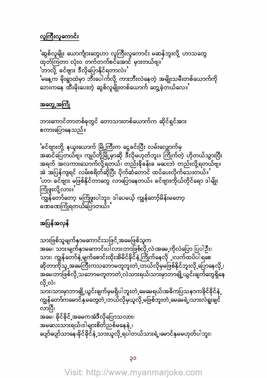 The Experience, myanmar jokes