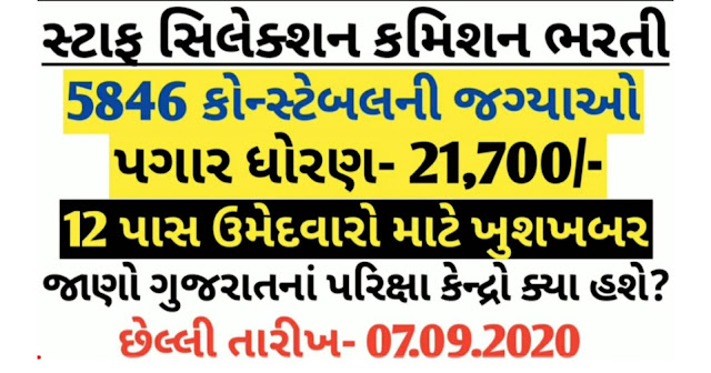 Staff Selection Commission (SSC) 5846 Constable Recruitment 2020