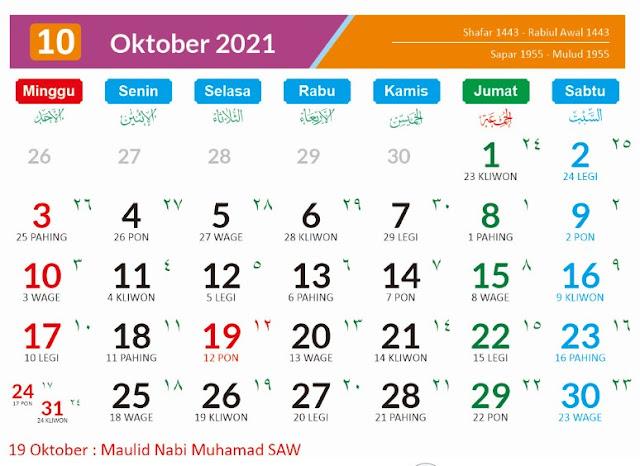 Kalender Bulan Oktober 2021 dan Hari Peringatannya