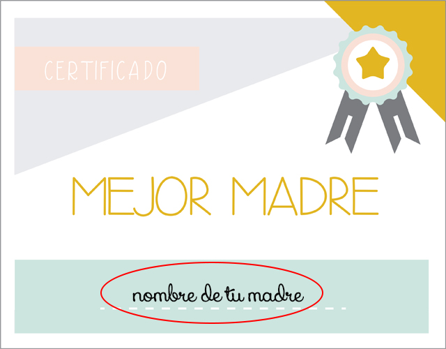 certificado imprimible mejor madre certificado