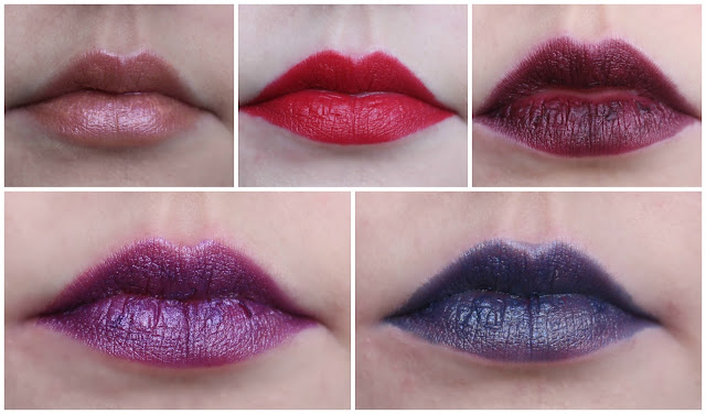 Photo collage of the entire Urban Decay Through the Looking Glass Lipstick Collection