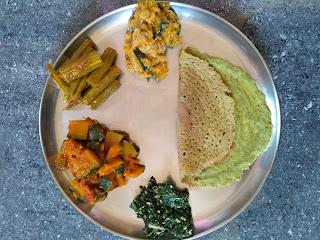 Green gram sprouts pesarattu, Ponnaanganni greens poriyal, Pumpkin Kurma, Pumpkin masala, Drumstick masala