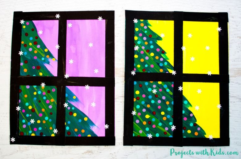 Mixed media Christmas tree craft for kids