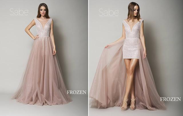 Krótka błyszcząca suknia ślubna mini z doczepianą długą różową, tiulową spódnicą. Suknie Sabe.