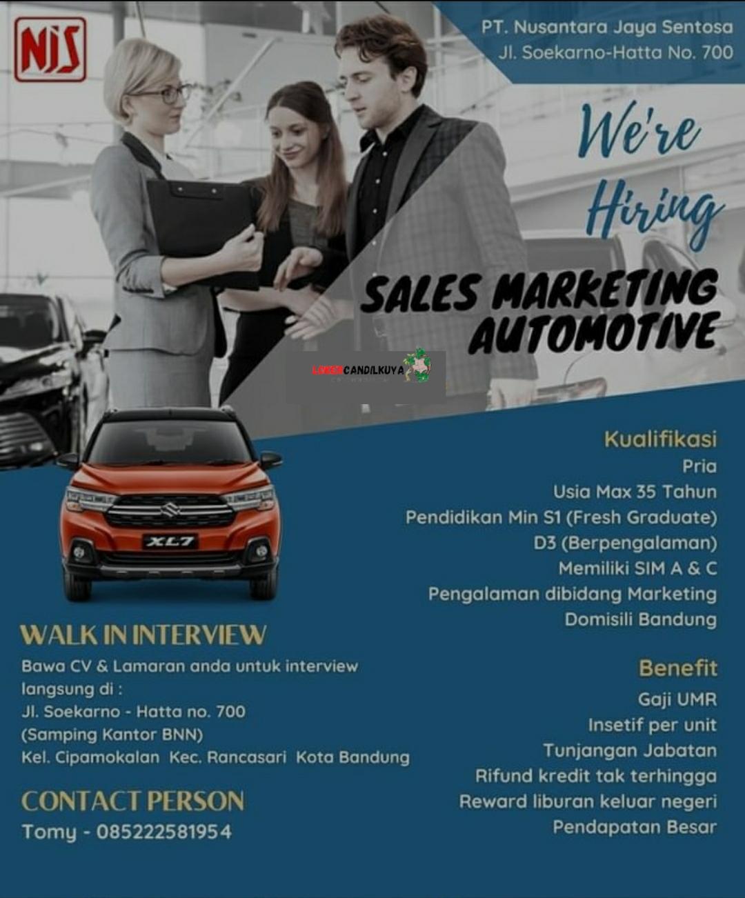 Lowongan Kerja Sales Marketing Automotive Bandung