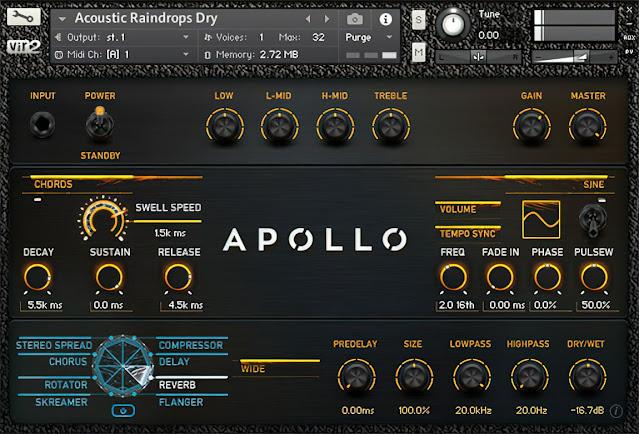 Interface da Library Apollo: Cinematic Guitars - Vir2 Instruments (KONTAKT)