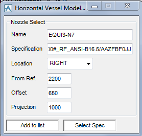 PDMS Model Macro Nozzle Selection Specification