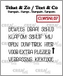 "Clear-stempels woordstrips, waaronder ""klap om"". Clear-stamps wordstrips, including ""flip over"" (Dutch words)."