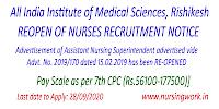 All India Institute of Medical Sciences reopen of Nurses Recruitment Notice