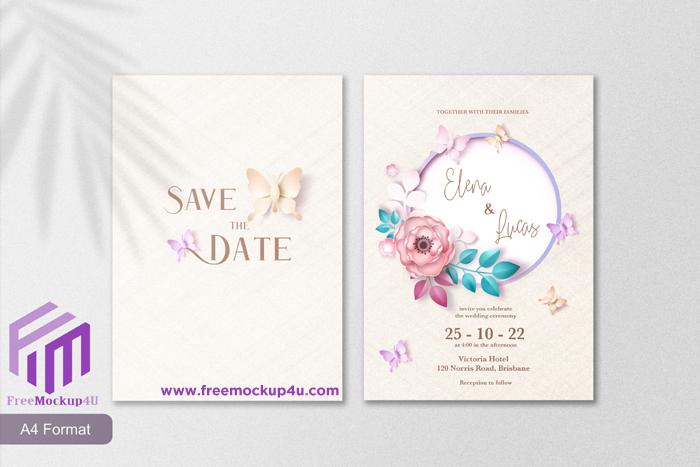 Paper Style Cute Wedding Invitation Template