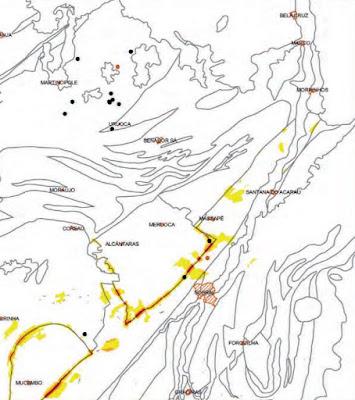mapa do ouro e pedras preciosas no Ceará