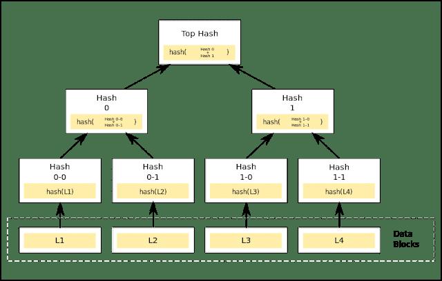 Estructura de datos del árbol Merkle