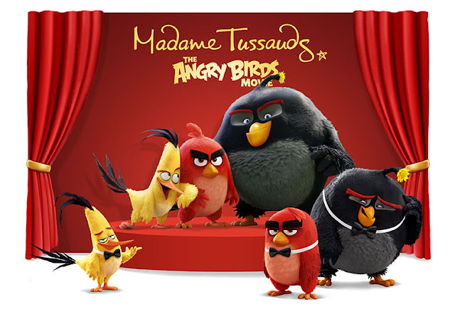 Angry Birds, Madame Tussauds' figures of explosive Bomb, speedy Chuck and furious Red.