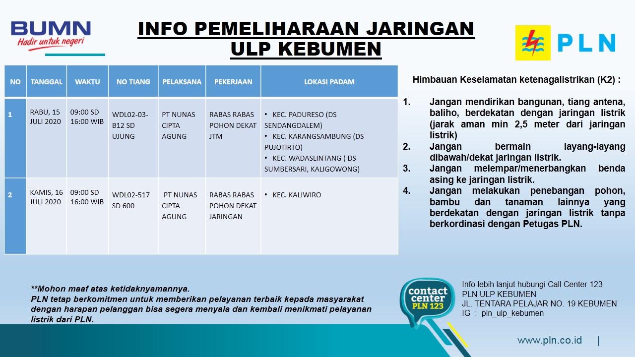 Jadwal Pemadaman Listrik di Kebumen Rabu 15 Juli 2020, Ini Wilayah yang Terdampak