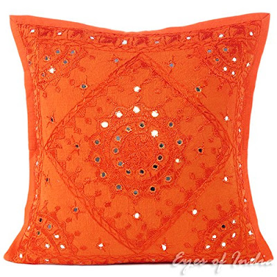 orange bohemian pillow from India