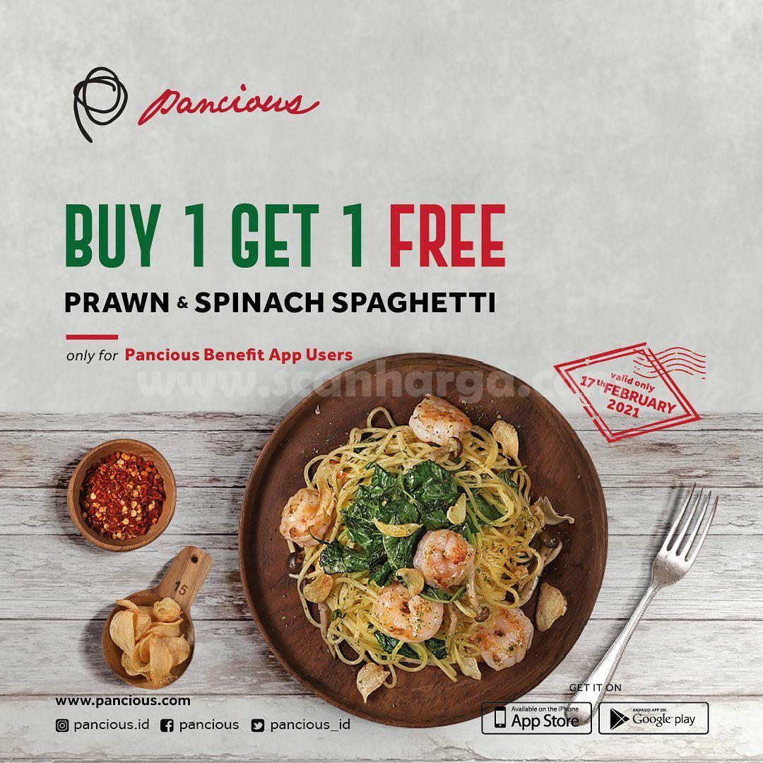 PANCIOUS Promo Prawn & Spinach Spaghetti! Spesial BELI 1 GRATIS 1