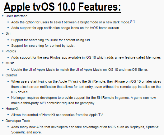 Apple tvOS 10.0 Features