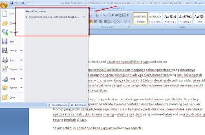 Cara hapus recent document di word 2007 dengan mudah