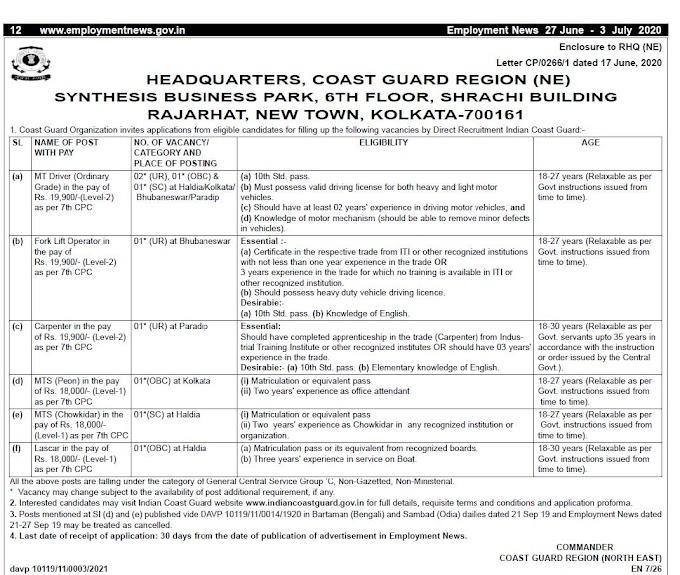 HQ, Coast Guard Region (NE) Recruitment 2020 MT Driver, Fork Lift Operator, Carpenter, MTS, Lascar – 8 Posts Last Date 27-07-2020