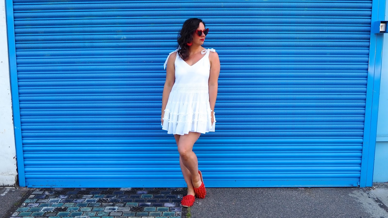 Red heart sunglasses, white dress and red mules