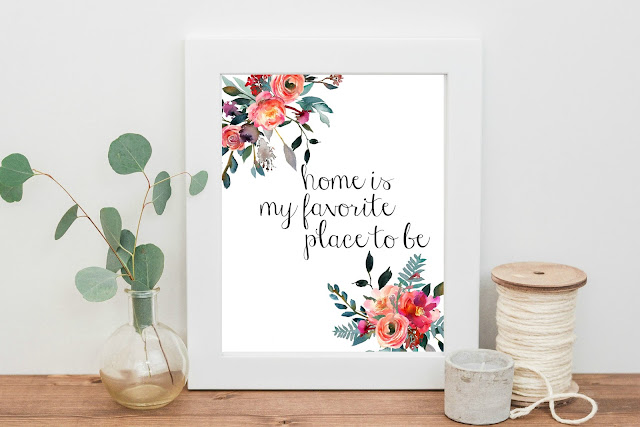 Home is My Favorite Place to Be printable watercolor art - Check out the brand new Max & Dot Co. Etsy shop for fun mugs and beautiful printables