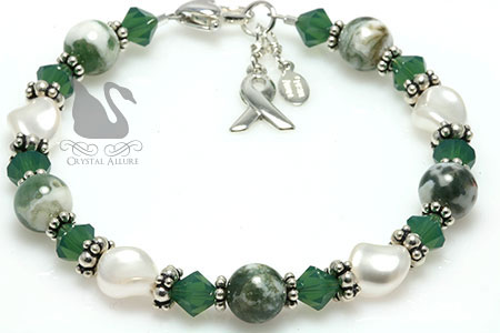 Green Organ Transplant Awareness Bracelet (B159) in Tree Agate Gemstone