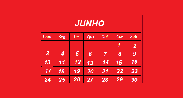 Calendário/Agenda mês de Junho/2018