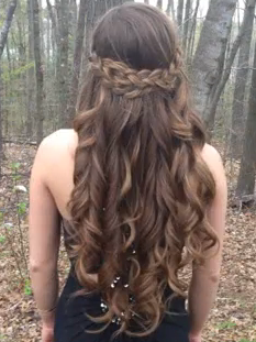 A Braided Hairstyle With Curls For Prom Half Up Half Down Hair