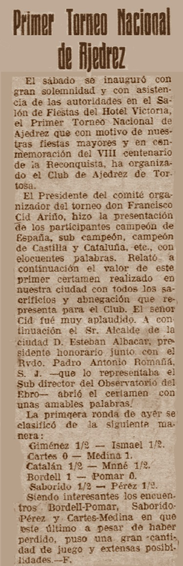 I Torneo Nacional de Ajedrez de Tortosa 1948, recorte del Diario Español