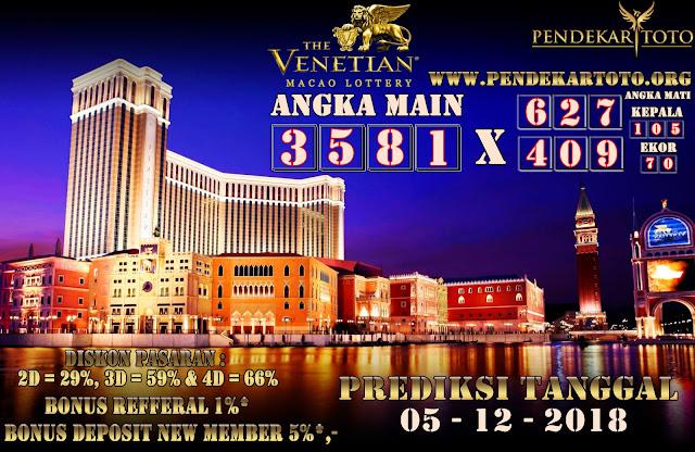 Prediksi Venetian Macao Lottery Tanggal 05 Desember 2018