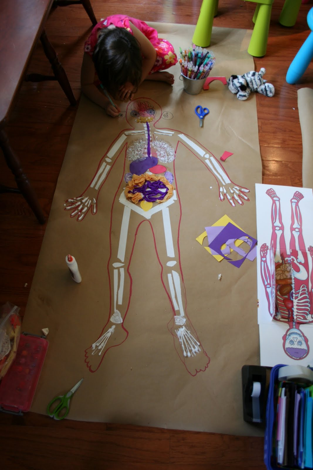 Pink and Green Mama  LifeSized Body Map Kids Art Project
