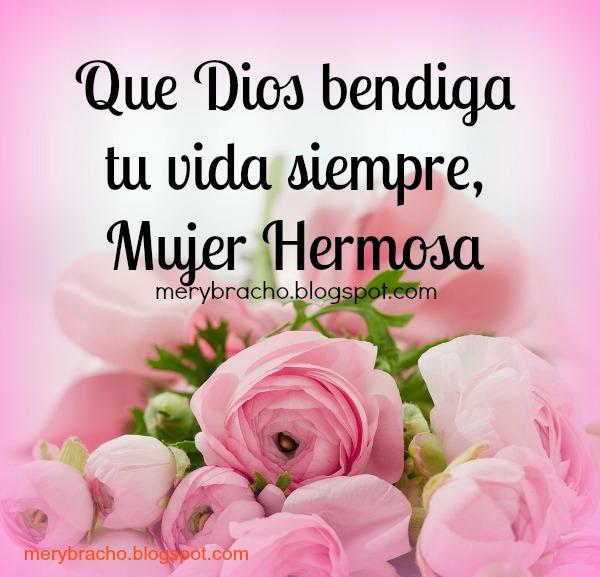 tarjeta felicitacion mujer bendiciones Dios bendiga