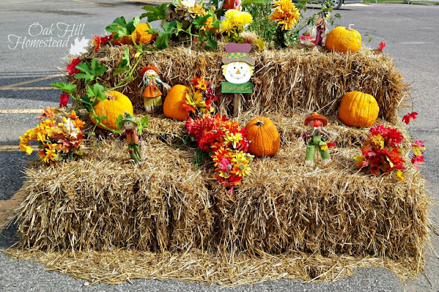 A fall display in a parking lot.