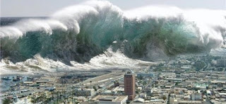 An artists' mock-up of how a tsunami off Campania might impact on coastal cities