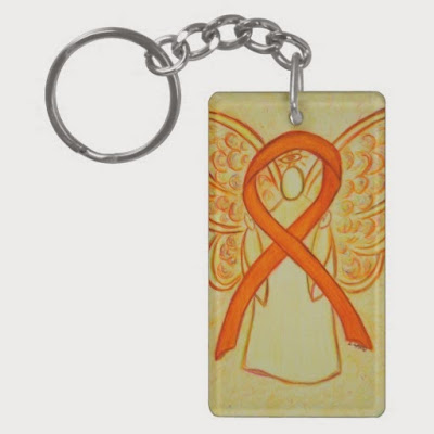 Orange Awareness Ribbon Guardian Angel Art Painting Custom Key chains
