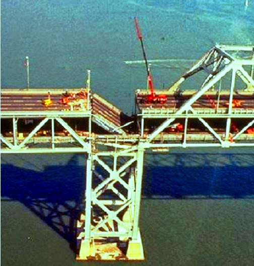 San Francisco Bay Bridge collapsed during Loma Prieta earthquake