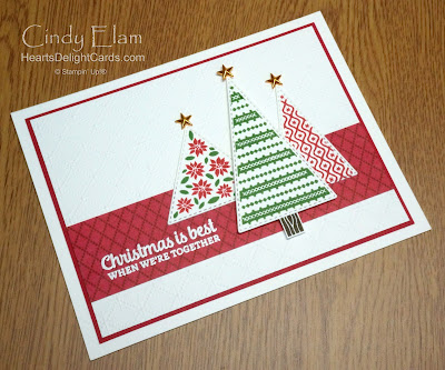 Heart's Delight Cards, Tree Angle, Stitched Triangles Dies, 2020 Aug-Dec Mini, 12 Days of Christmas in July, Stampin' Up!